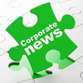 News concept: Corporate News on puzzle background