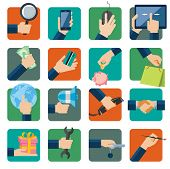 Flat design vector illustration icons set for business, web and mobile phone services. Hands with sh