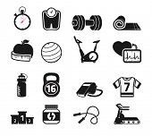 pic of skipping rope  - Fitness and sport icons set BW - JPG