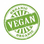 picture of vegan  - illustration of grunge rubber stamp with the text vegan written inside - JPG