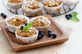 stock photo of vegan  - Vegan banana carrot muffins with oats and berries - JPG