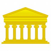 pic of ionic  - Gold ionic temple isolated on white background - JPG