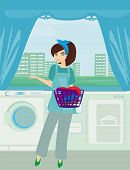 foto of laundry  - Young woman doing laundry at her home  - JPG