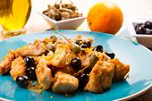 foto of swordfish  - swordfish stew with caper and olives and oranges - JPG