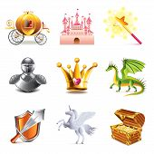 stock photo of fairy-tale  - Fairy tale icons photo realistic vector set - JPG