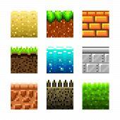 stock photo of pixel  - Textures for platformers pixel art photo - JPG