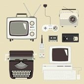 image of outdated  - Retro devices collection of tv - JPG