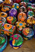 Colorful Mexican Jewlery Boxes And Piggy Banks