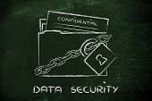 foto of personal safety  - concept security of data and personal information folder with lock and chains - JPG