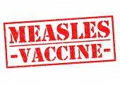 pic of viral infection  - MEASLES VACCINE red Rubber Stamp over a white background - JPG