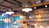 stock photo of breakfast  - Coffee shop blur background with bokeh image - JPG
