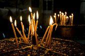 picture of bethlehem  - Candles in the Church of the Nativity Bethlehem Jerusalem Israel - JPG