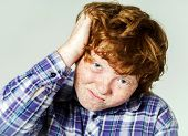 stock photo of laughable  - Emotional portrait of red - JPG