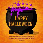 foto of witches cauldron  - Happy halloween cute retro banner on the craft paper texture with black witch cauldron boiling the potion - JPG