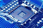 stock photo of processor socket  - Close view at closed processor socket on computer motherboard - JPG