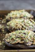 picture of portobello mushroom  - Portobello mushroom caps filled with shallots and cremini mushroom in a white wine cream sauce broiled with a parmesan chive and cilantro panko topping - JPG