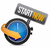image of start over  - start now watch illustration design over a white background - JPG