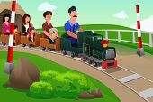 image of amusement park rides  - A vector illustration of Kids and their parents riding a small train in an amusement park - JPG