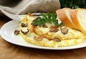 picture of truffle  - gourmet omelette with black truffle and herbs - JPG