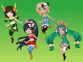 image of nymphs  - Cute nymphs girls cartoon character with green background - JPG