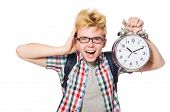 picture of time study  - Student missing his studying deadlines on white - JPG