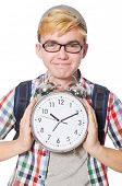 stock photo of time study  - Student missing his studying deadlines on white - JPG