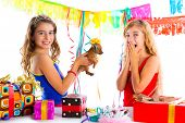 pic of dog birthday  - girl friends party excited with puppy chihuahua present dog in birthday - JPG