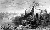 pic of chepstow  - Engraving of Chepstow Castle ruins on River Wye Monmouthshire Wales - JPG