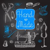 picture of tailoring  - Sewing  and tailoring chalkboard set with machine scissors button vector illustration - JPG