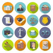 stock photo of tribunal  - Law icon flat set with lawyer jail court jury isolated vector illustration - JPG