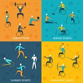 picture of paralympics  - Disabled sports design concept set with winter and summer competition paralympic games flat icons isolated vector illustration - JPG