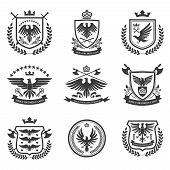 image of eagles  - Eagle heraldry coat of arms emblems shield icons set with spread wings black isolated abstract vector illustration - JPG