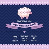 stock photo of baby sheep  - baby shower invitation with sheep in retro style vector format - JPG