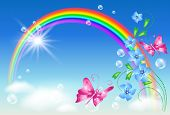 stock photo of butterfly  - Rainbow with flowers in the blue sky and butterflies - JPG