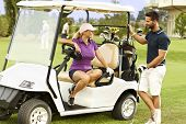 picture of flirt  - Golfers flirting in the fairway in golf cart - JPG