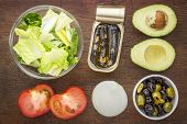 stock photo of romaine lettuce  - top view of sardine salad ingredients  - JPG