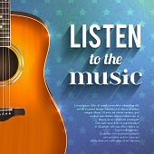image of guitar  - Realistic guitar on blue star background with listen to the music text vector illustration - JPG