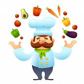 foto of juggling  - Male chef restaurant cook character juggles with vegetables vector illustration - JPG