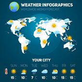 image of cold-weather  - Weather forecast infographic set with meteorology signs and world map vector illustration - JPG