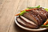 stock photo of brisket  - barbecue beef brisket with copy space - JPG