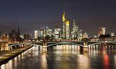 stock photo of frankfurt am main  - Frankfurt am Main city skyline night view - JPG