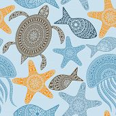 foto of jellyfish  - Vector Seamless Pattern with turtles starfishes and jellyfishes seamless pattern in swatch menu - JPG