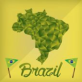 foto of brazilian carnival  - a pair of brazilian flags text and the map of brazil on a colored background - JPG
