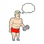 stock photo of weight lifter  - cartoon man lifting weights with thought bubble - JPG