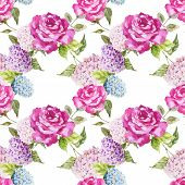 picture of hydrangea  - Beautiful watercolor vector pattern with hydrangea and roses - JPG
