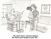image of drama  - Cartoon of husband reading newspaper - JPG