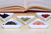picture of peppercorns  - Variety of peppercorns and salt with open cook book in background - JPG