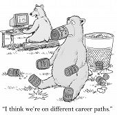 foto of bear  - Cartoon of business bear working on computer and other bear eating food - JPG