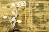 stock photo of birchwood  - Background made out of recycled wood with Birchwood and wooden number 2015 - JPG