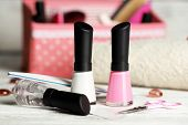 Постер, плакат: French manicure set with strengthener white tip polish dividers and top coat shine applicator for n